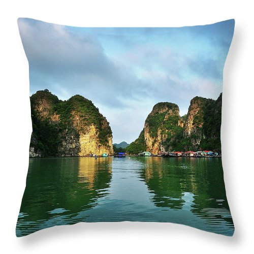 Scenics Throw Pillow featuring the photograph The Scenic Of Halong Bay by Photo By Sayid Budhi