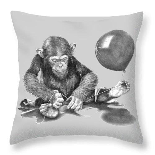 Pencil Throw Pillow featuring the drawing The String Theory by Murphy Elliott