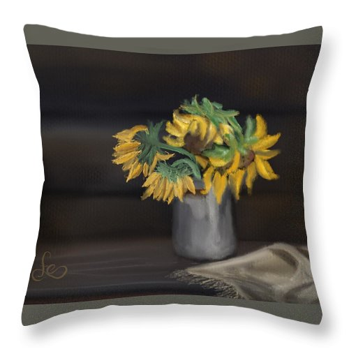 Throw Pillow featuring the painting The Sun Flowers by Fe Jones