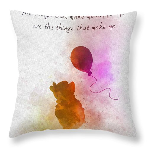 Winnie The Pooh Throw Pillow featuring the mixed media The things that make me different by My Inspiration