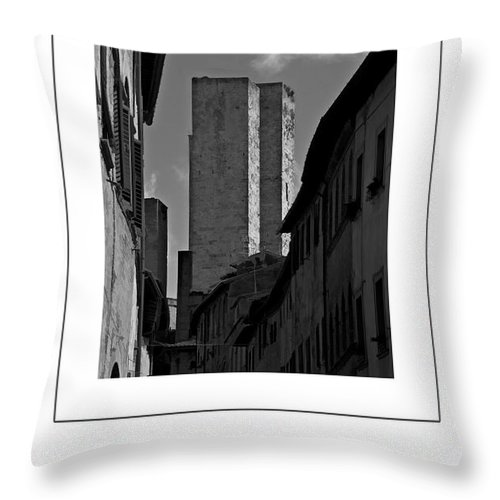 San Gimignano Throw Pillow featuring the photograph The Twin Towers Of San Gimignano, Italy Poster by Mike Nellums