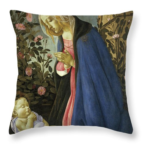 Sandro Botticelli Throw Pillow featuring the painting The Virgin Adoring The Sleeping Christ Child by Sandro Botticelli