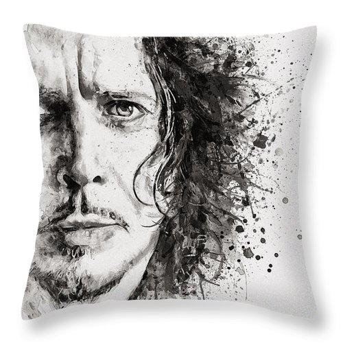 Grunge Throw Pillow featuring the painting The Voice Of Seattle Monochrome by Marian Voicu