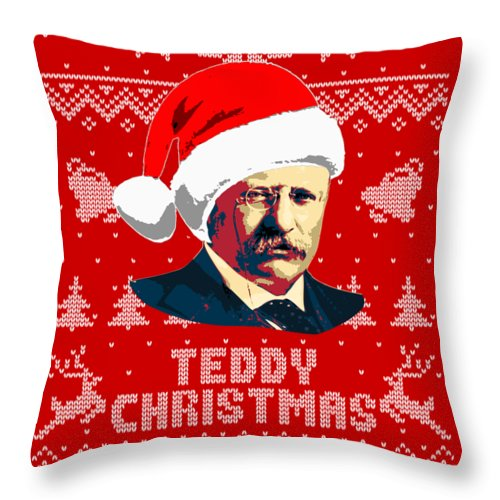Santa Throw Pillow featuring the digital art Theodore Roosevelt Teddy Christmas by Filip Hellman