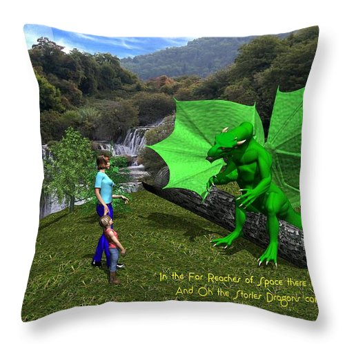 Throw Pillow featuring the digital art There Be Dragons by Bob Shimer