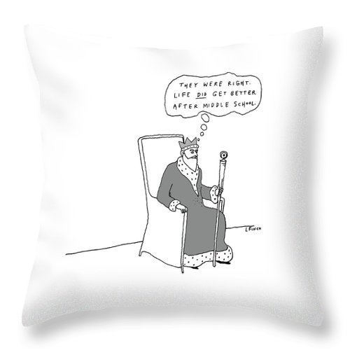 King Throw Pillow featuring the drawing They Were Right by Liana Finck