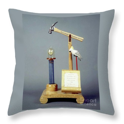 Czappa Throw Pillow featuring the sculpture This Great Moment In Time by Bill Czappa