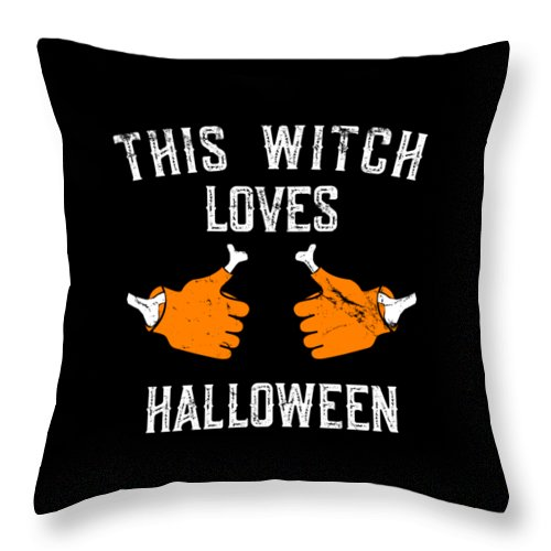 Cool Throw Pillow featuring the digital art This Witch Loves Halloween by Flippin Sweet Gear
