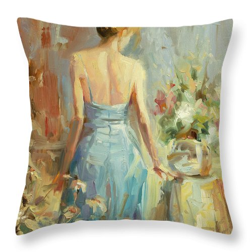 Woman Throw Pillow featuring the painting Thoughtful by Steve Henderson