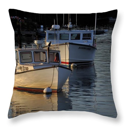 Maine Throw Pillow featuring the photograph Three Boats In Maine by Tom Gresham