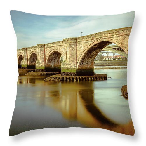 Bridge Throw Pillow featuring the digital art Three Bridges. by Dariusz Stec