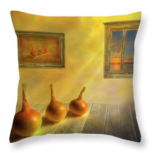 Autumn Throw Pillow featuring the digital art Three Onions by Veikko Suikkanen