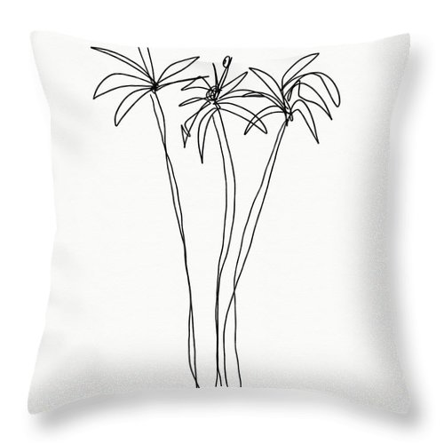 Trees Throw Pillow featuring the drawing Three Tall Palm Trees- Art By Linda Woods by Linda Woods