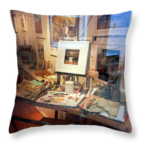 Studio Throw Pillow featuring the photograph Through An Artists Window by Terri Waters
