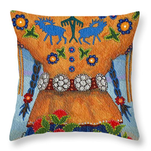 Native American Throw Pillow featuring the painting Thunder Girl Fall by Chholing Taha