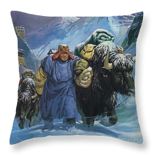 Tibet Throw Pillow featuring the painting Tibet by Angus McBride