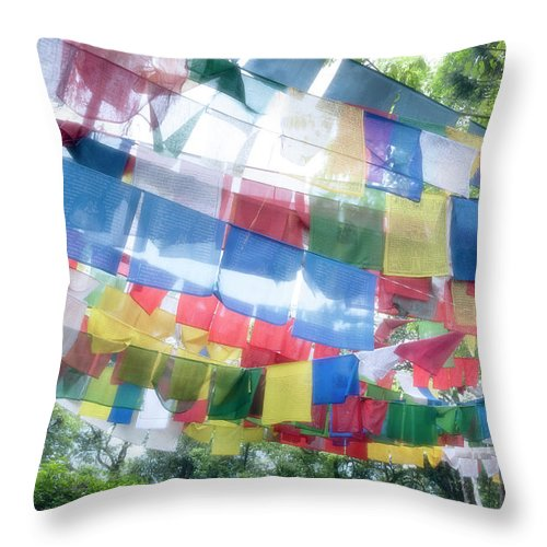 Hanging Throw Pillow featuring the photograph Tibetan Buddhist Prayer Flags by Glen Allison