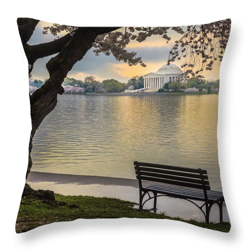 Tidal Basin Throw Pillow featuring the photograph Tidal Basin With Cherry Blossoms And by Drnadig