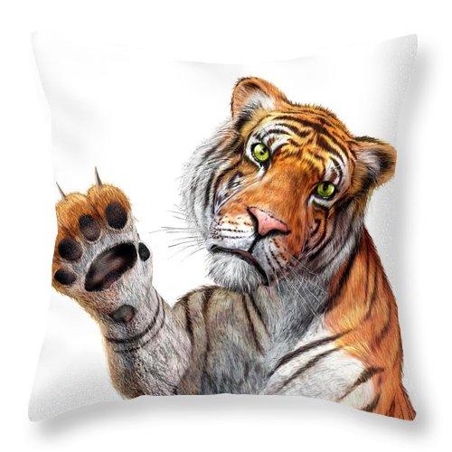 White Background Throw Pillow featuring the digital art Tiger, Artwork by Leonello Calvetti
