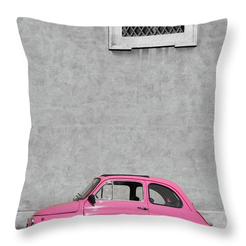 Sparse Throw Pillow featuring the photograph Tiny Pink Vintage Car, Rome Italy by Romaoslo