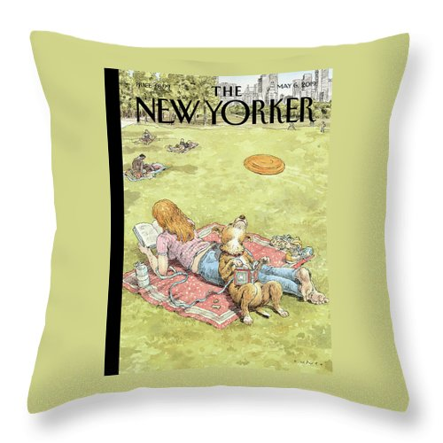 To Fetch Or Not To Fetch Throw Pillow featuring the painting To Fetch or Not to Fetch by John Cuneo