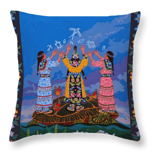 Indigenous Throw Pillow featuring the painting Together We Over Come Obstacles by Chholing Taha