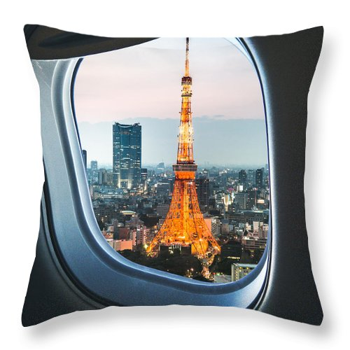 Tokyo Tower Throw Pillow featuring the photograph Tokyo Skyline With The Tokyo Tower by Franckreporter