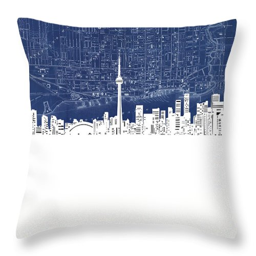 Toronto Skyline Map Blue Throw Pillow For Sale By Bekim M