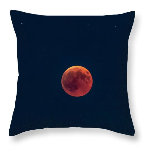 Space Throw Pillow featuring the photograph Total lunar eclipse, 27 July 2018 by Nunzio Mannino