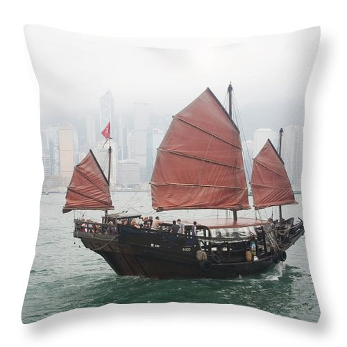 Outdoors Throw Pillow featuring the photograph Tourist Junk On Cruise by Romana Chapman