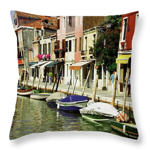 Row House Throw Pillow featuring the photograph Tourists Along A Canal, Murano, Venice by Medioimages/photodisc