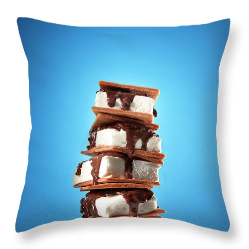 Temptation Throw Pillow featuring the photograph Tower Of Smores Treats by Annabelle Breakey