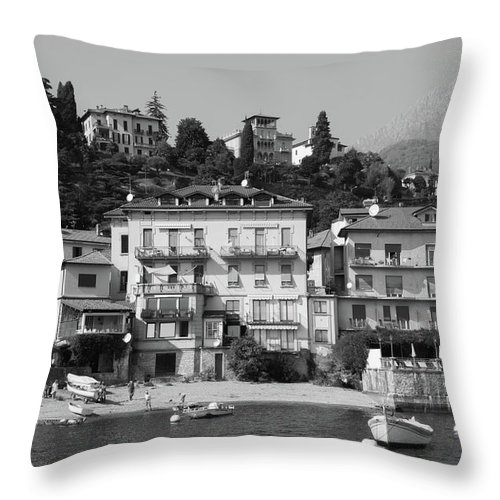Landscape Throw Pillow featuring the photograph Town In The Shore Of Lake Como In Black And White by Guillermo Lizondo