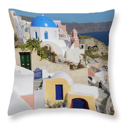 Greek Culture Throw Pillow featuring the photograph Traditional Greek Houses And Curch by Martin Ruegner