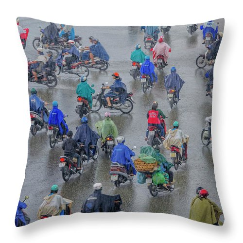 Ho Chi Minh City Throw Pillow featuring the photograph Traffic In Ho Chi Minh City by Rwp Uk