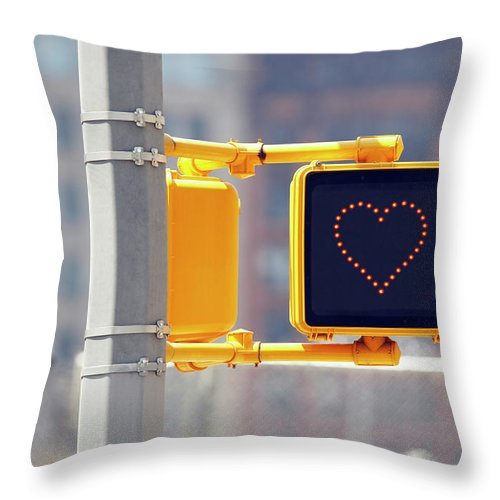 Pole Throw Pillow featuring the photograph Traffic Sign With Heart Shape by Richard Newstead