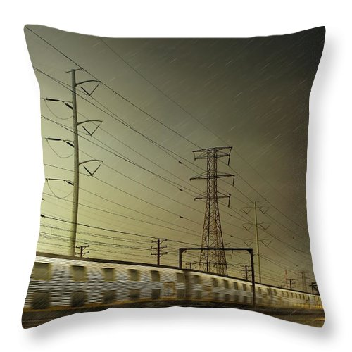 Train Throw Pillow featuring the digital art Train Speeding By Power Lines by Chris Clor