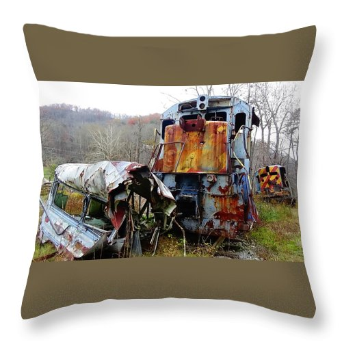 The Fugitive Throw Pillow featuring the photograph Train Wreck by Rob Tudor