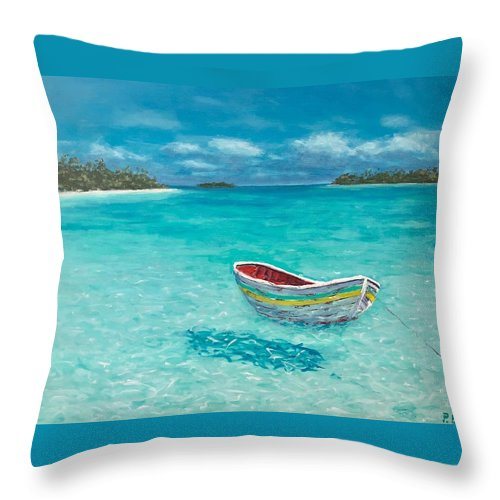 Dinghy Throw Pillow featuring the painting Tranquil by Paul Emig