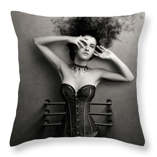 Woman Throw Pillow featuring the photograph Trapped by Johan Swanepoel
