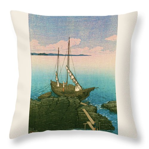 Kawase Hasui Throw Pillow featuring the painting Travel Souvenir First Collection, Boshu, Stone Pile - Digital Remastered Edition by Kawase Hasui