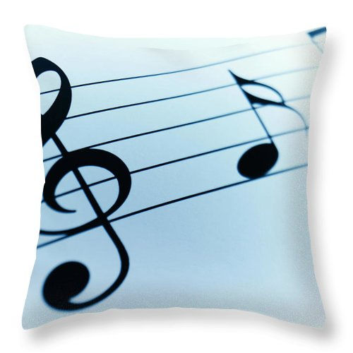 Sheet Music Throw Pillow featuring the photograph Treble Clef And Notes by Adam Gault