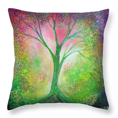 Tree Throw Pillow featuring the painting Tree Of Tranquility by Jennifer Lommers