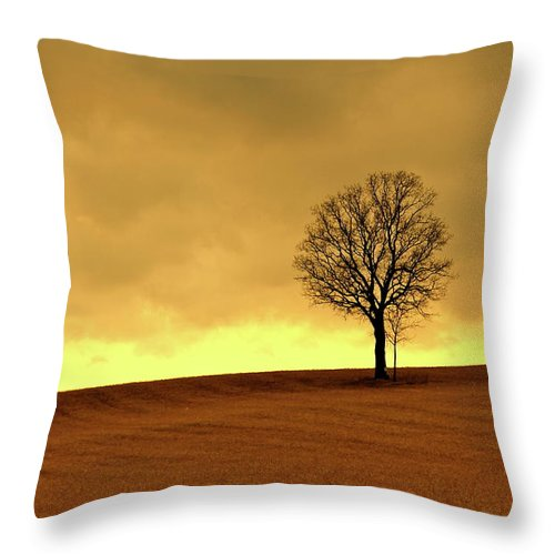 Scenics Throw Pillow featuring the photograph Tree On Hillside At Dusk Sepia by Driftless Studio