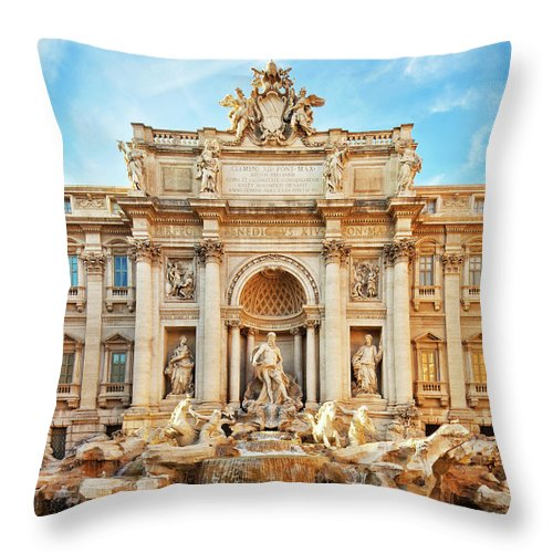 Empty Throw Pillow featuring the photograph Trevi Fountain, Rome by Nikada