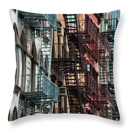 Downtown District Throw Pillow featuring the photograph Tribeca Fire Escapes by Joseph O. Holmes / Portfolio.streetnine.com