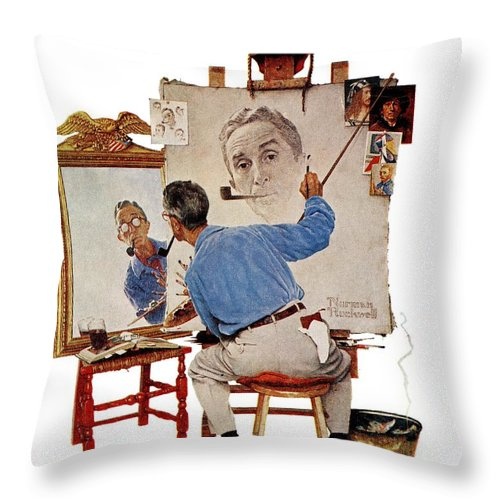 Artists Throw Pillow featuring the drawing Triple Self-portrait by Norman Rockwell