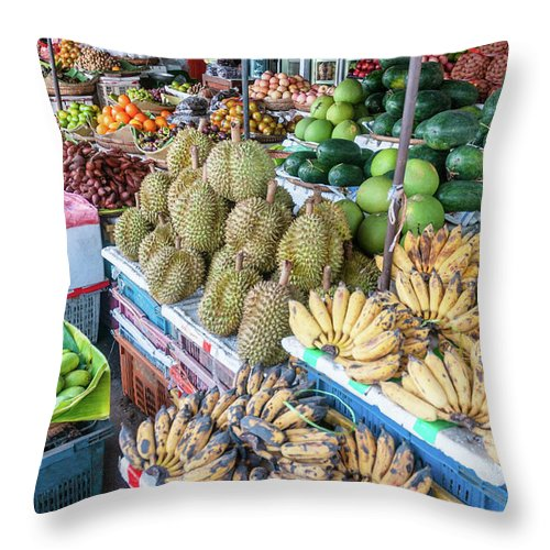 Mango Fruit Throw Pillow featuring the photograph Tropical Fruit At A Street Market In by Tbradford