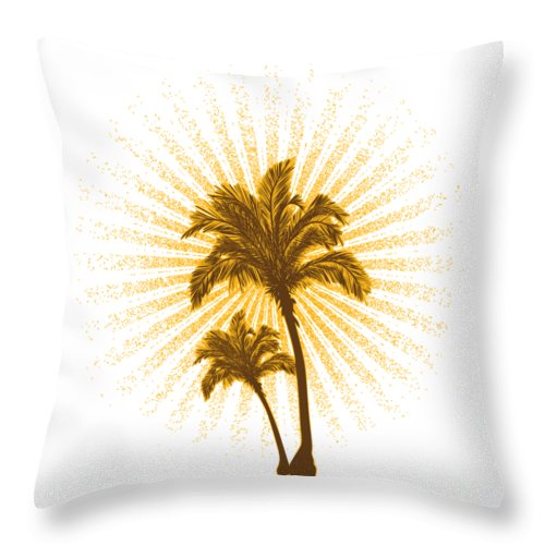 Beach Throw Pillow featuring the digital art Tropical Hot Day by Passion Loft