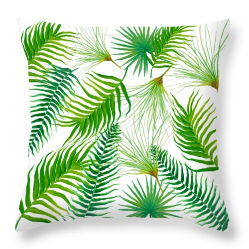 Tropical Leaves Throw Pillow featuring the painting Tropical Leaves and Ferns by Jan Matson
